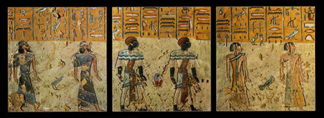 Three photographs showing tomb paintings of foreigners in the time of Ramses III (1100s)