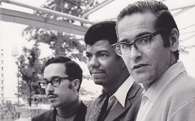 Bill Evans Trio with (from l-r) Eddie Gomez, Jack DeJohnette and Evans. Photograph by  Guiseppi Pino